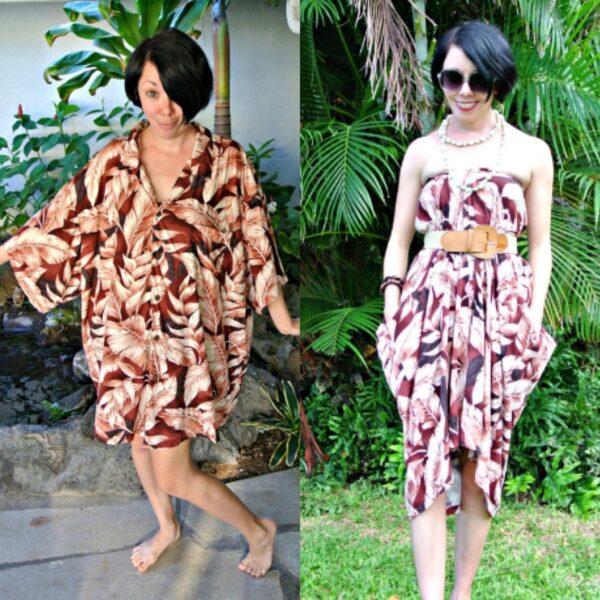 No Sew Mens Hawaiian Shirt to Dress Refashion Pin 5
