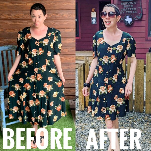 refashionista Back in Austin: Brown Spring Floral Dress Refashion before and after
