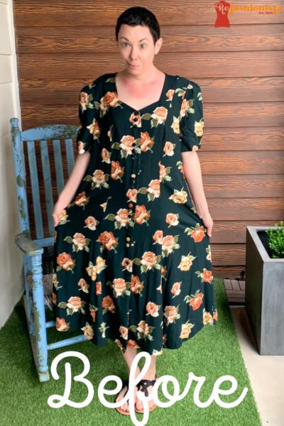 Refashionista Back in Austin: Brown Spring Floral Dress Refashion Pin 1