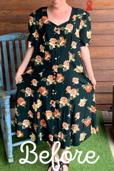 Refashionista Back in Austin: Brown Spring Floral Dress Refashion Pin 2