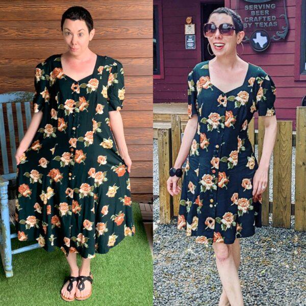 Refashionista Back in Austin: Brown Spring Floral Dress Refashion Pin 5