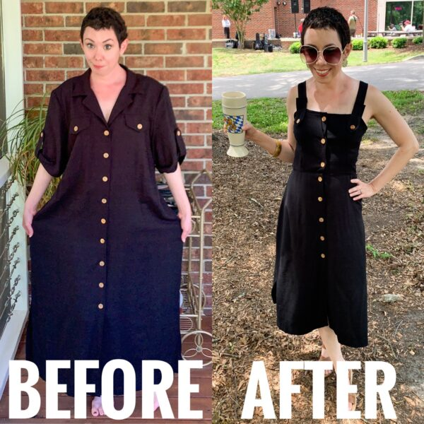refashionista Black Midi Sundress Refashion before and after