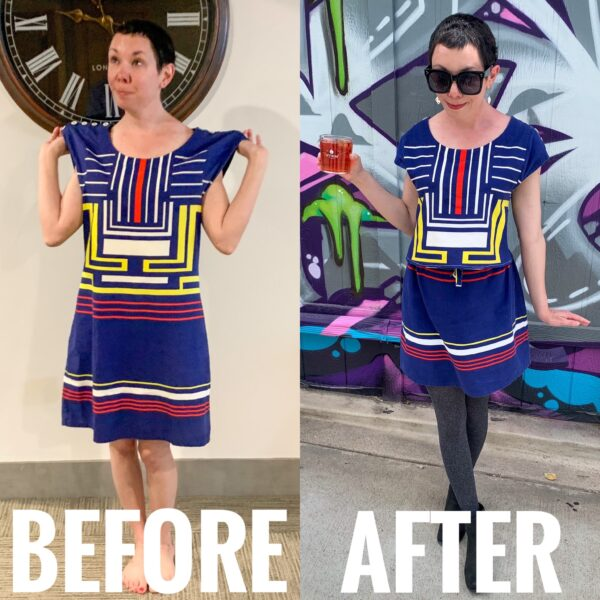 refashionista Dress to Skirt & Top Refashion: Refashionista in Denver before and after