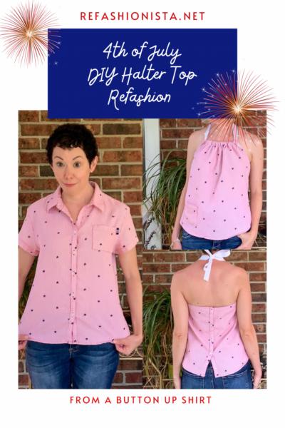 DIY Halter Top from Button-Up Shirt Pin 3