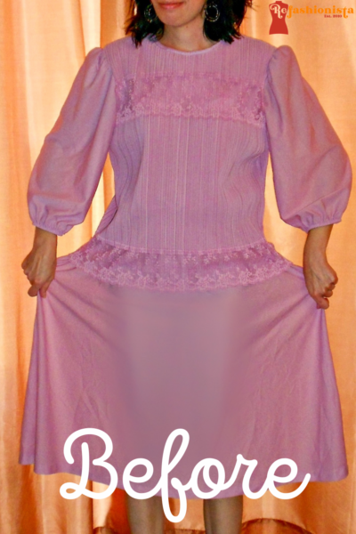 Fortuny Pleated Thrift Store Dress to Strapless Top Refashion pin 2