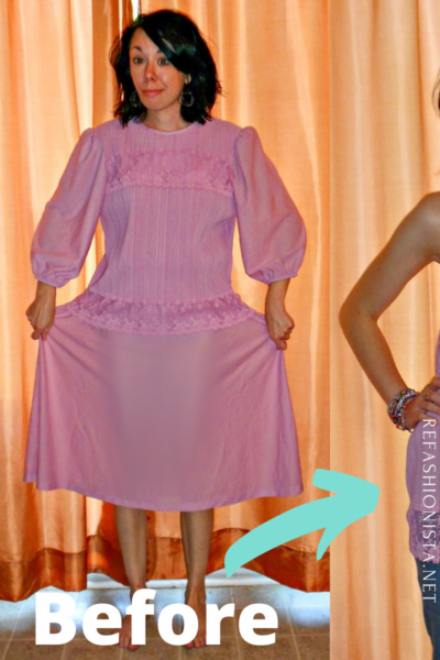 Fortuny Pleated Thrift Store Dress to Strapless Top Refashion pin 3