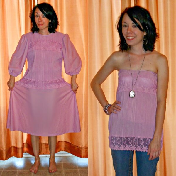 Fortuny Pleated Thrift Store Dress to Strapless Top Refashion pin 5
