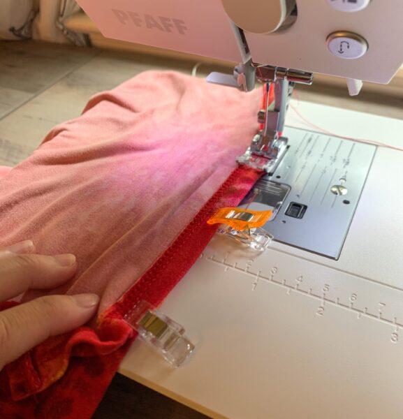 sewing shoulder of dress