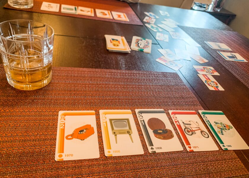 Vintage the card game on table