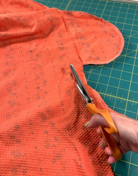 cutting side off dress