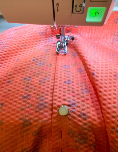sewing front placket of dress