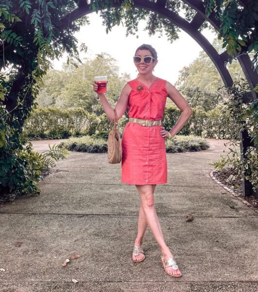 refashionista Snap Front Duster to Peachy Keen Day Dress Refashion after outside