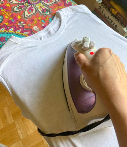 ironing front of Tshirt