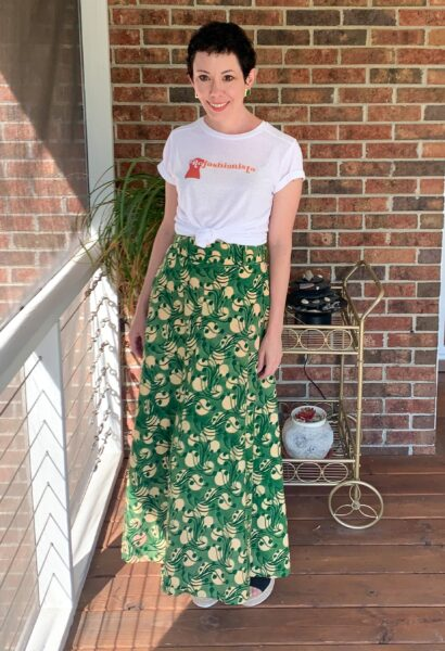 refashionista in NuFun Refashionista logo tee and long skirt