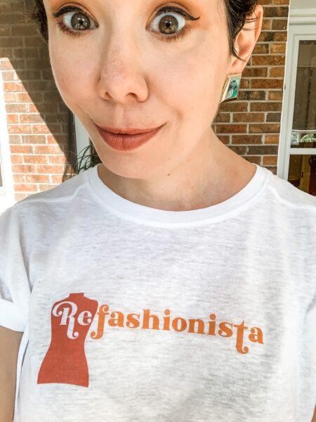 refashionista in NuFun Refashionista logo tee selfie