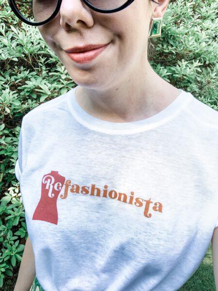 refashionista in refashionista logo tee closeup