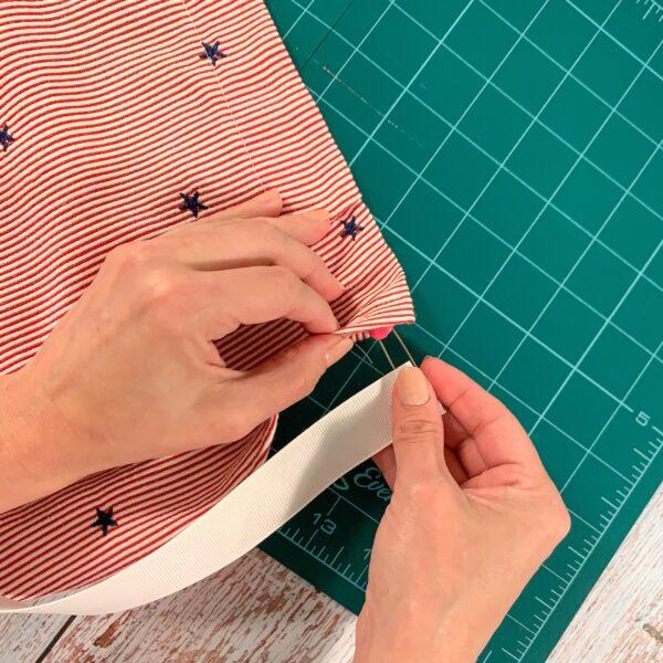 threading ribbon through casing