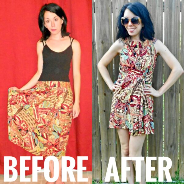 No-Sew Skirt to Dress Refashion before and after