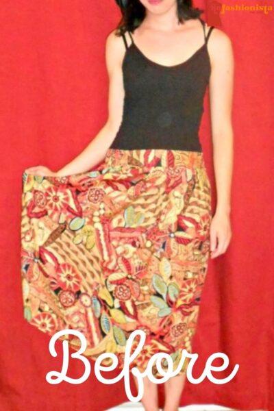 No-Sew Skirt to Dress Refashion pin 1