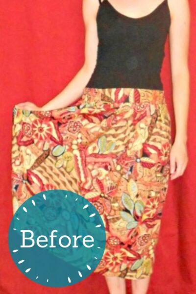 No-Sew Skirt to Dress Refashion pin 2