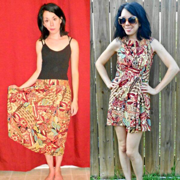 No-Sew Skirt to Dress Refashion pin 4