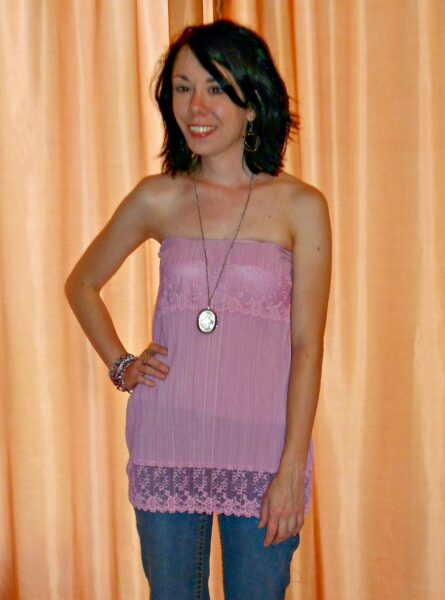 Of Greater Fortuny Dress to Strapless Top Refashion after 1