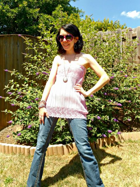 Of Greater Fortuny Dress to Strapless Top Refashion after 2