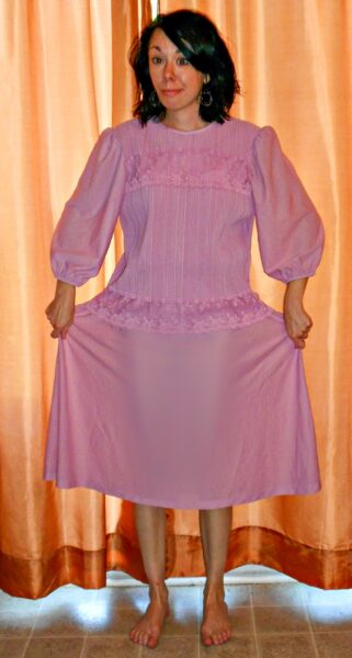 Of Greater Fortuny Dress to Strapless Top Refashion before