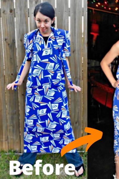 refashionista All the Angles Strapless Dress Refashion pin 2