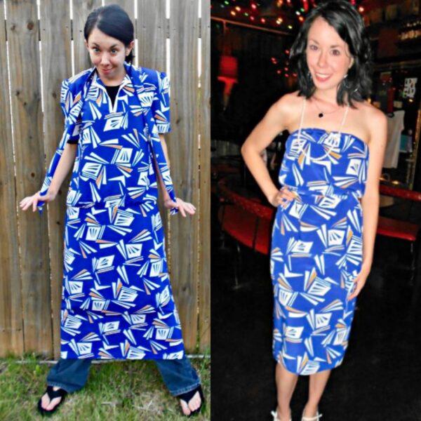 refashionista All the Angles Strapless Dress Refashion pin 4