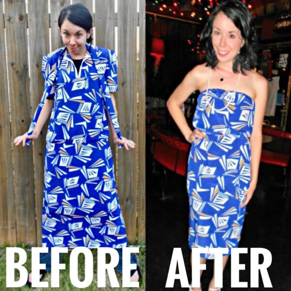 refashionista Day 363: All the Angles Strapless Dress Refashion before and after