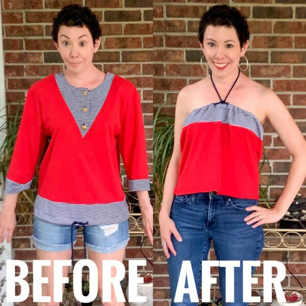 refashionista Easy No-Sew Halter Top Refashion before and after
