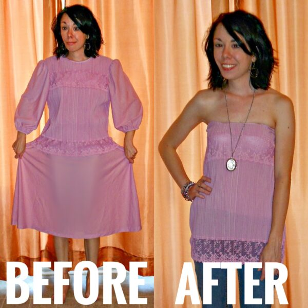 refashionista Of Greater Fortuny Dress to Strapless Top Refashion before and after
