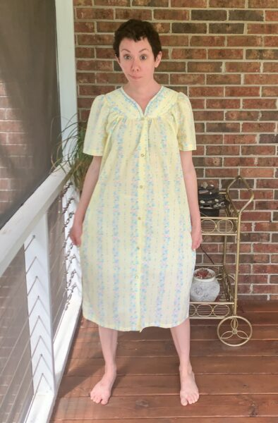 refashionista Snap Front Duster to Peachy Keen Day Dress Refashion before