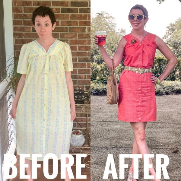 refashionista Snap Front Duster to Peachy Keen Day Dress Refashion before and after