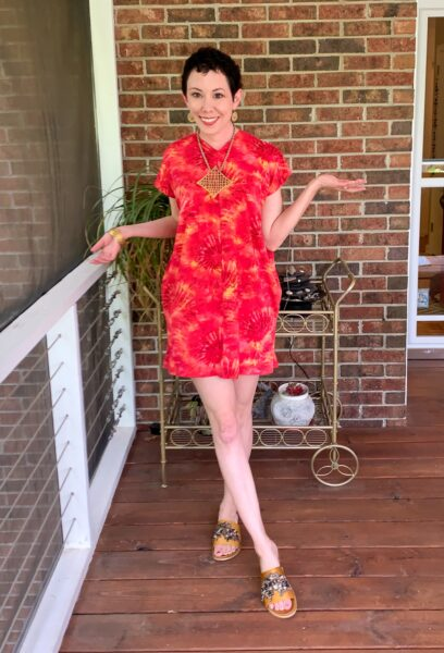 refashionista Tie-Dye Coverup to Kaftan Mini Dress Refashion after 2
