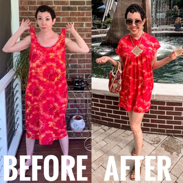 refashionista Tie-Dye Coverup to Kaftan Mini Dress Refashion before and after