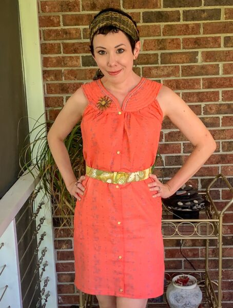Snap Front Duster to Peachy Keen Day Dress Refashion after 2