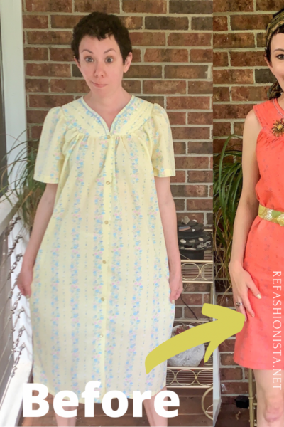 Snap Front Duster to Peachy Keen Day Dress Refashion pin 2