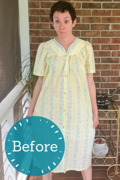 Snap Front Duster to Peachy Keen Day Dress Refashion pin 3