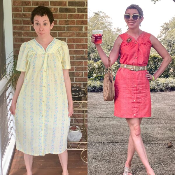 Snap Front Duster to Peachy Keen Day Dress Refashion pin 5