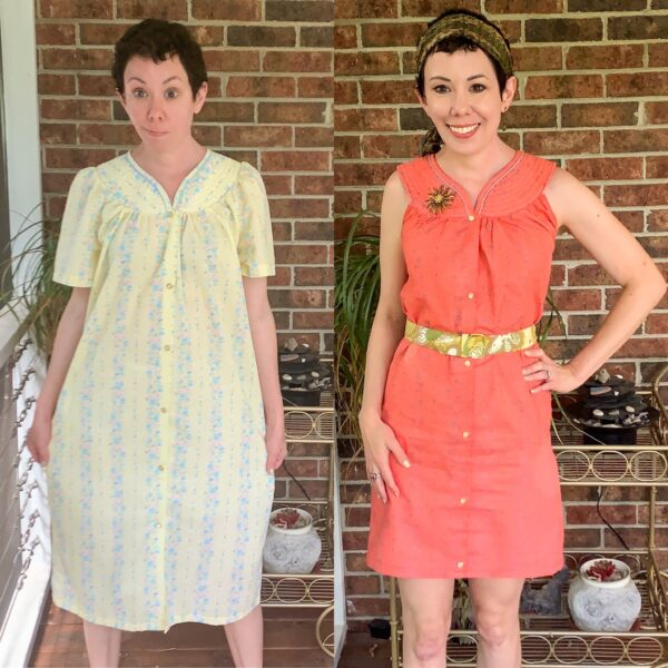 Snap Front Duster to Peachy Keen Day Dress Refashion pin 6