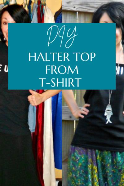 T-shirt to halter top refashion pin 4
